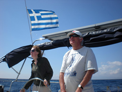 Dr. Marc De Roeck and Pascale Pollier sailing to Zakynthos