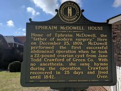 Front of the plaque at the Ephraim McDowell House