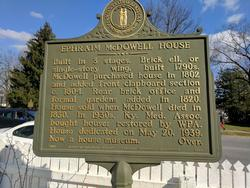 Back of the plaque at the Ephraim McDowell House and Museum